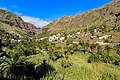 Garden with palm trees at the foot of terraced hills in the valley of Valle Gran Rey on La Gomera, Spain (48293854977).jpg