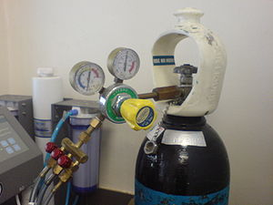 Industrial gas - A gas regulator attached to a nitrogen cylinder.