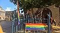 Gay pride flags at the Marktpleinkerk, Winschoten (2017) 02.jpg