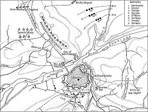 First Siege of Badajoz (1811) - Map of the Battle of the Gebora and the first siege of Badajoz