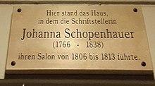 Gedenktafel für den Literarischen Salon Johanna Schopenhauers (Quelle: Wikimedia)