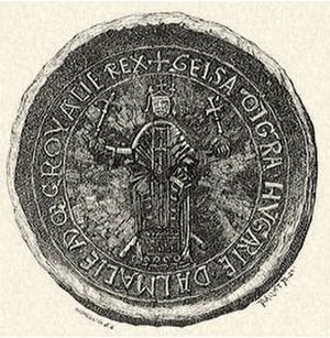 Béla III of Hungary -  The seal of Béla's father, Géza II of Hungary