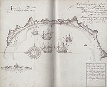 Old map showing a Mauritian bay, with a D indicating where dodos were found
