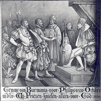 Friesland - The Frisian representative refusing to kneel before Philip II at his coronation.
