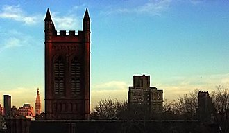 General Theological Seminary - The chapel tower viewed from the Clement Clarke Moore Building