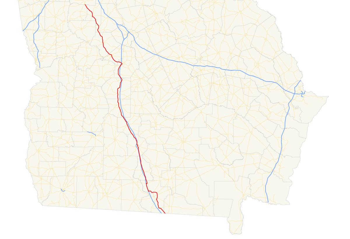 Map Of Georgia Highway 341.Georgia State Route 7 Wikipedia