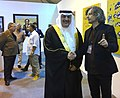German artist Sebastian Bieniek (right) speaking to Sheikh Rashid bin Khalifa Al Khalifa (Rashid Al Khalifa) (left).jpg
