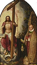 Gillis Claeissens - Christ the Saviour adored by Abbot Robert Holman (detail).jpg