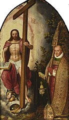 Portrait of the abbot Robert Holman, of abbey Onze-Lieve-Vrouw ter Duinen, kneeling before Christ