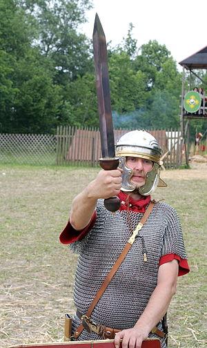 Roman military personal equipment - Re-enactor with Pompeii-type gladius