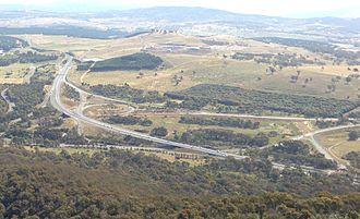 Glenloch Interchange - View from nearby Black Mountain Tower, November 2012.