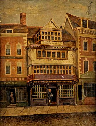 Gloucester Old Bank - An 1828 painting of the bank by J.R. Orton after a print by George Rowe of Cheltenham. The figure in the doorway is almost certainly intended to be Jemmy Wood. In the collection of Gloucester City Museum & Art Gallery.