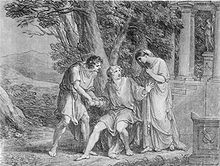 Orestes, a curly-haired young man in a Greek robe, is seated before a small group of trees, clasping the right hand of another Greek man, who is standing with his left hand on the seated man's arm. Standing to their left but in the right of the painting is a tall, robed woman of elegant bearing. Behind her are two columns of a classic Greek temple. Low mountains are in the far background.