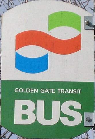 Golden Gate Transit - Golden Gate Transit's original logo, in use since the start of service, as seen on a bus stop sign in San Rafael.