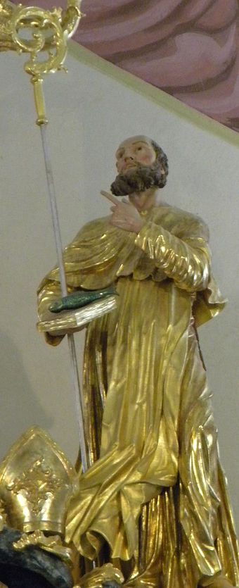 Statue of S. Ulrich in a church in Gora Oljka (Slovenia) Gora Oljka - Saint Ulrich.jpg