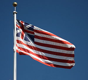 Grand Union Flag - A replica flag flying outside San Francisco City Hall, San Francisco, California