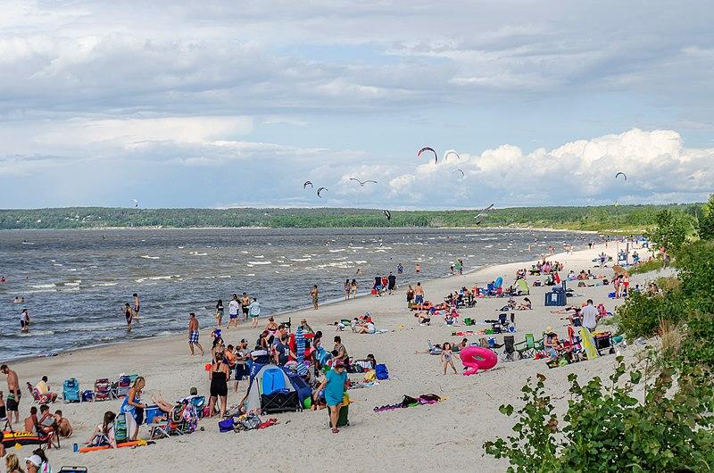 Grand Beach Provincial Park in August 2020, late summer beach on Lake Winnipeg