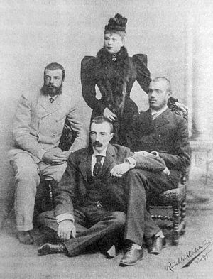 Grand Duke Michael Mikhailovich of Russia - Grand Duke Michael, Countess Sofia, Grand Duke Alexander (left) and Grand Duke Sergei (right). c1892.