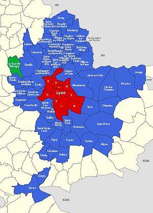 Position de La Tour-de-Salvagny dans la métropole.