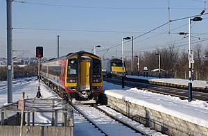 Grantham railway station - Trains battling the snow