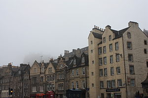 Grassmarket - Atmospheric picture of the Grassmarket tenements with the Castle shrouded in a typical Edinburgh haar