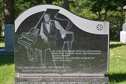 Tombstone of Oscar Peterson at St. Peter's Anglican Church in Mississauga Grave of Oscar Peterson - St. Peter's Anglican Church.jpg