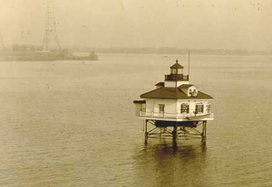 Greenbury Point Light - Greenbury Point Light in 1925 (USCG). Greenbury Point lies in the upper left of the picture.
