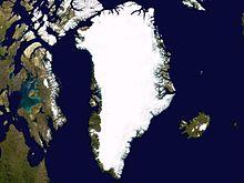 Isole continentali: immagine satellitare della Groenlandia, l'isola più estesa del pianeta