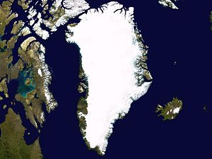 Outline of Greenland - An enlargeable satellite composite image of Greenland