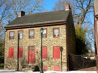 Grumblethorpe Tenant House, Germantown, Philadelphia, Pennsylvania, where 80 percent of the buildings were made entirely of stone. Grumblethorpe Tennant.JPG