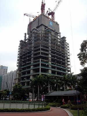 Guangzhou CTF Finance Centre - The skyscraper under construction in December 2012