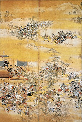 The Tale of Hōgen - In this depiction of the Hogen Disturbance, the warrior in black armor is Kiyomori Taira -- see mid-ground, left