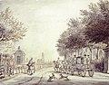HUA-501364-Gezicht op vermoedelijk de Blauwkapelseweg te Utrecht met op de voorgrond een door vier paarden getrokken koets links een theekoepel en rechts een hek.jpg