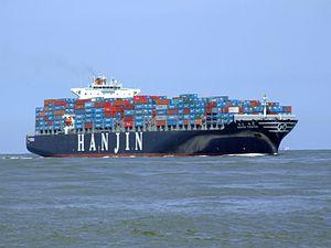 Hanjin Tianjin p3 approaching Port of Rotterdam, Holland 08-Jul-2007.jpg