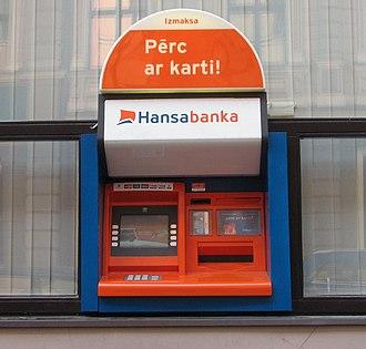 Hansabank - A Hansabanka ATM in Riga, Latvia.