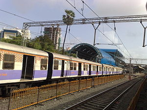 Goregaon railway station - Harbour Line station under construction at Goregaon