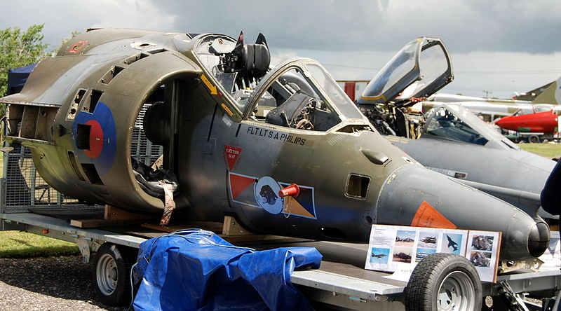 File:Harrier GR.3 cockpit section, Newark Air Museum ...