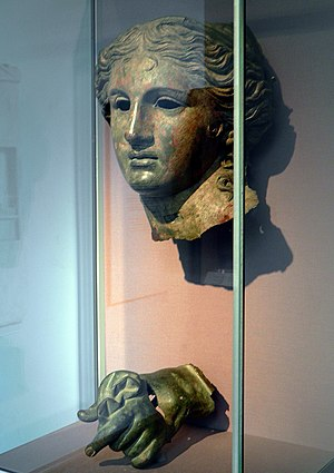 Trabzon - Head and hand of a 2nd century BCE bronze statue of Anahita as Aphrodite, found near Kelkit to the south of Trabzon province. On display in the British Museum.
