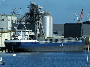 Hendrika Margaretha astern- IMO 9057238 - Callsign PDRZ at Port of Amsterdam.JPG