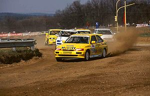 Henning Solberg - Solberg (Group N Ford Escort RS Cosworth) pictured during the 1995 Austrian Rallycross EC round.