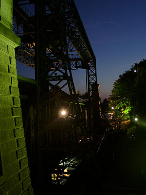 Henrichenburg boat lift - Night time view of the old boat lift in 2003