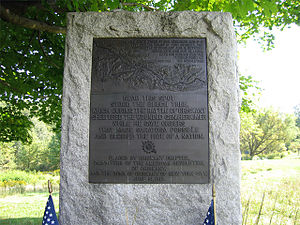 Battle of Oriskany - Monument marking location of tree to which Herkimer was taken