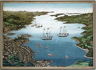 La baie de Nagasaki, avec l'usine coloniale néerlandaise Deshima