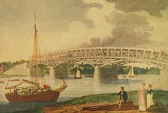 Market Street Bridge (Philadelphia) - Image: High Street Bridge , before the bridge was covered. William Birch, 1805