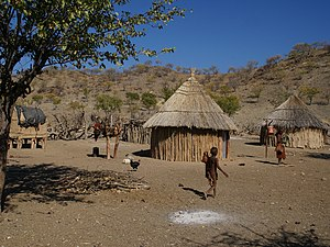 English: Himba village about 15 km north of Op...