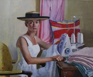 "Dorian Allworthy - Dorian Allworthy. ""Holly O'Toole on the Serger"". 1995. 30 X 36 inches. Oil on Canvas."