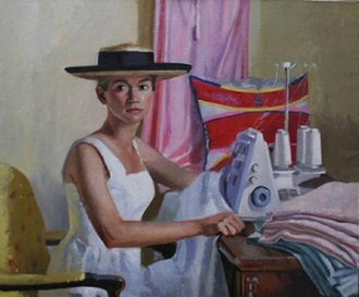 "Dorian Allworthy - Dorian Allworthy. ""Holly O'Toole on the Serger"". 1995. 30 X 36 inches. Oil on Canvas."