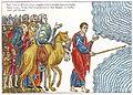 Hortus Deliciarum, Moses führt das Volk Israel durch das Rote Meer.JPG
