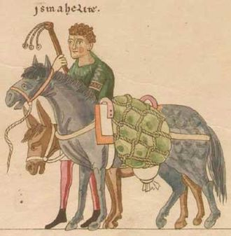 Pack animal - Medieval pack horse and donkey in Hortus Deliciarum, Europe, 12th century, when packing was a major means of transport of goods
