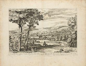 Dominique Barrière - Engraving of Villa Aldobrandina Tusculana, 1647